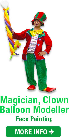 Clown magician entertainer with balloon in hand
